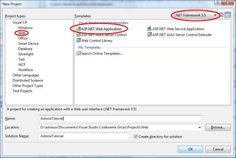 Choose an ASP.NET web application